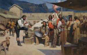 Z.S. Liang, Rejecting the Metal Shield, Fort Mackenzie, 1835, oil, 46 x 72.
