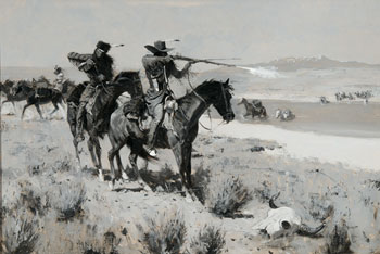 Pack Horse Men Repelling an Attack by Indians by Frederic Remington.