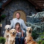 Mark and Retta Dunn and their four golden retrievers.