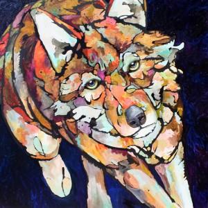 Amy Ringholz, Mod, oil/ink, 48 x 48.