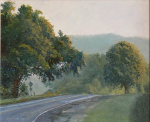 Barbara McGee, Road to Town, oil, 18 x 24.
