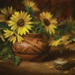 Elizabeth Robbins, Sunflowers and Pottery, oil, 14 x 18.