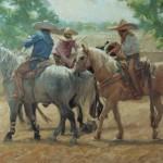 Gladys Roldan-de-Moras, Trio, oil, 22 x 28.