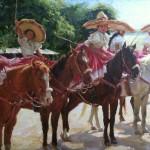 Gladys Roldan-de-Moras, Arriba las Escaramuzas, oil, 24 x 36.
