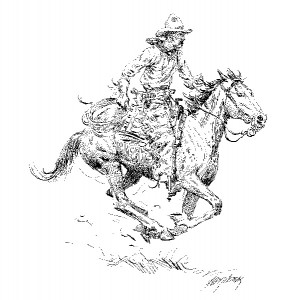 Andy Thomas, Ropin, pen/ink, 8 x 8.
