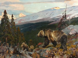 Carl Rungius, Grizzly Bear and Cubs, oil, 24 x 32, at the Jackson Hole Art Auction.