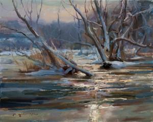 Daniel Gerhartz, Running Through, oil, 16 x 20.