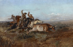 Charles M. Russell, Unbranded, oil, 13 x 20, at the Jackson Hole Art Auction.