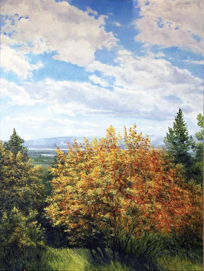 Ridgeline Maples, oil on canvas, 36 x 48.