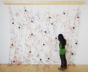 Julianne Swartz, Loop, wire, speakers, electronics, and 8-channel composition, 130 x 140 x 10, Scottsdale Museum of Contemporary Art, collection of Jean and Colette Cherqui, Paris.
