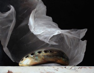 Auriform (Polished Abalone Shell), oil, 11 x 14.