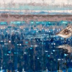 Ewoud de Groot, Sanderlings, oil, 20 x 59.