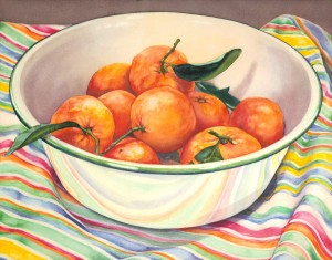 Satsuma Mandarins, watercolor, 17 x 21.