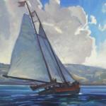 Dennis Ziemienski, Schooner, Tomales Bay, oil, 20 x 24.