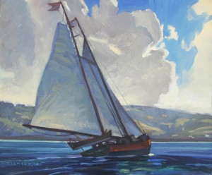 Dennis Ziemienski, Schooner, Tomales Bay, oil, 20 x 24.
