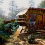 Once Upon a Backyard, oil, 24 x 24.