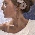 Amanda Raynes, Self Portrait, oil, 24 x 12.