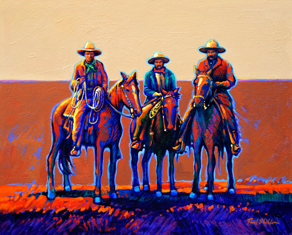 Paul Sheldon, High Plains Buckaroos, acrylic, 31 x 38.