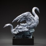 Sherry Sander, Swans at Freezeout Lake, bronze 10 x 10 x 7.