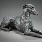 Sherry Sander, Whippet, bronze, 10 x 25 x 9.