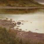 Shore of Tierra del Fuego, oil, 12 x 12.
