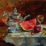 Silver Teapot, oil, 16 x 20.