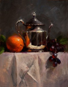 Kathy Tate, Silver with Orange and Grapes, oil, 14 x 11.