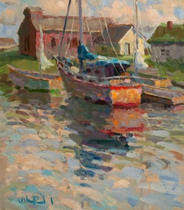 Gregory Packard, Small Harbor, oil, 18 x 16.