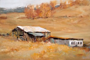 Sue Favinger Smith, Barn and Baler Shed, oil, 12 x 18.