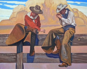 Dennis Ziemienski, Smoke Break, oil, 48 x 60.
