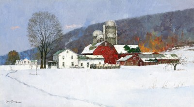 Xiao Song Jiang, Snow Covered Farm, oil, 10 x 18.
