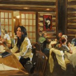 Solo at the Snake River Grill Bar, oil, 20 x 30.