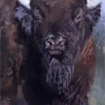 Jill Soukup, Bison At 'Cha, oil, 76 x 42.