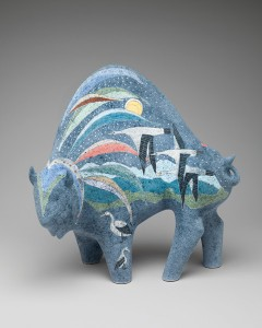 Rebecca Tobey, Spirit Flight, ceramic, 22 x 22 x 8.