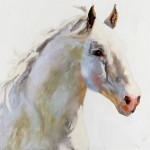 Linda St. Clair, White on White, oil, 30 x 36.