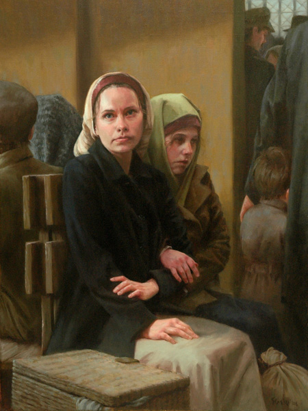 Jonathan Stasko, Waiting: Sisters at Ellis Island, 1906, oil painting