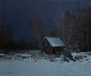 Marc Hanson, Storage Unit by Moonlight, oil, 20 x 24.