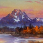 Kirk Randle, Sunrise at Oxbow, Jackson Hole , oil, 30 x 70.