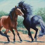 Susan Monty, Mustang Games, oil, 24 x 30.