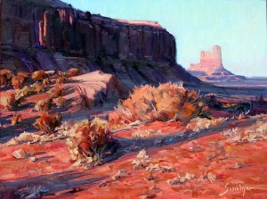 Susiehyer, Evening Light at the Monument, oil, 18 x 24.