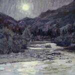 Susiehyer, Cub Lake Trailhead in Purple-Yellow Greys, oil, 16 x 20.