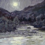 Susiehyer, Cub Lake Trailhead in Purple-Yellow Greys, oil, 16 x 20.