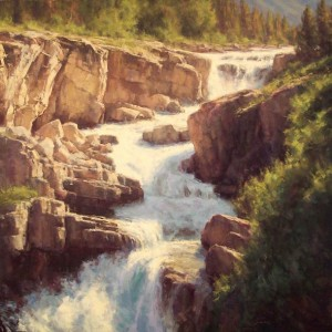 Greg Scheibel, Swiftcurrent Falls, oil, 48 x 48.