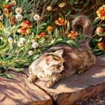 Terri Kelly Moyers, Jungle Cat, oil, 20 x 24.