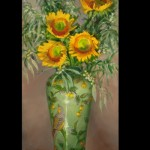 Teresa Vito, Sunrise Sunflowers, oil, 24 x 12.