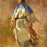 Howard Terpning, Shield of Her Husband, oil, 40 x 30, $1,033,000, Coeur D'Alene Art Auction.