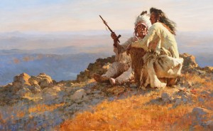 Howard Terpning, Telling of Legends, oil, 32 x 52. Estimate: $600,000-$900,000.