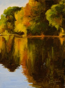 Terri Sanchez, Oak Reflections, oil, 12 x 16.