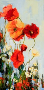 Terrie Lombardi, Garden Poppies, oil, 14 x 14.