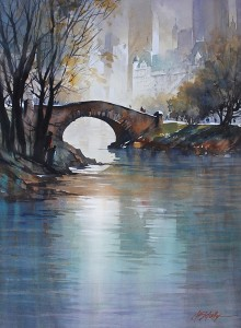 Thomas W. Schaller, The Gapstow Bridge, Central Park, watercolor, 30 x 22.